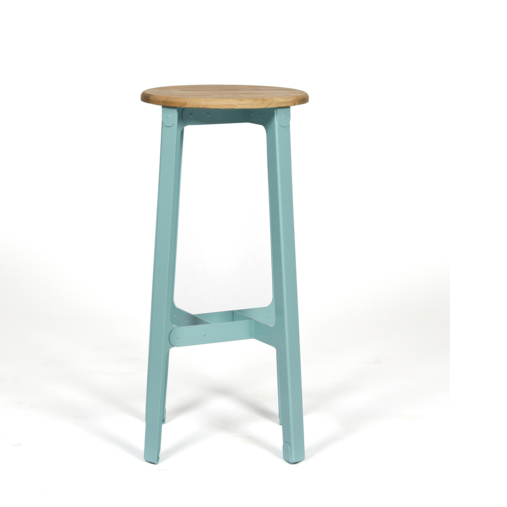 Naught Construct Barstool In Turquoise Front View