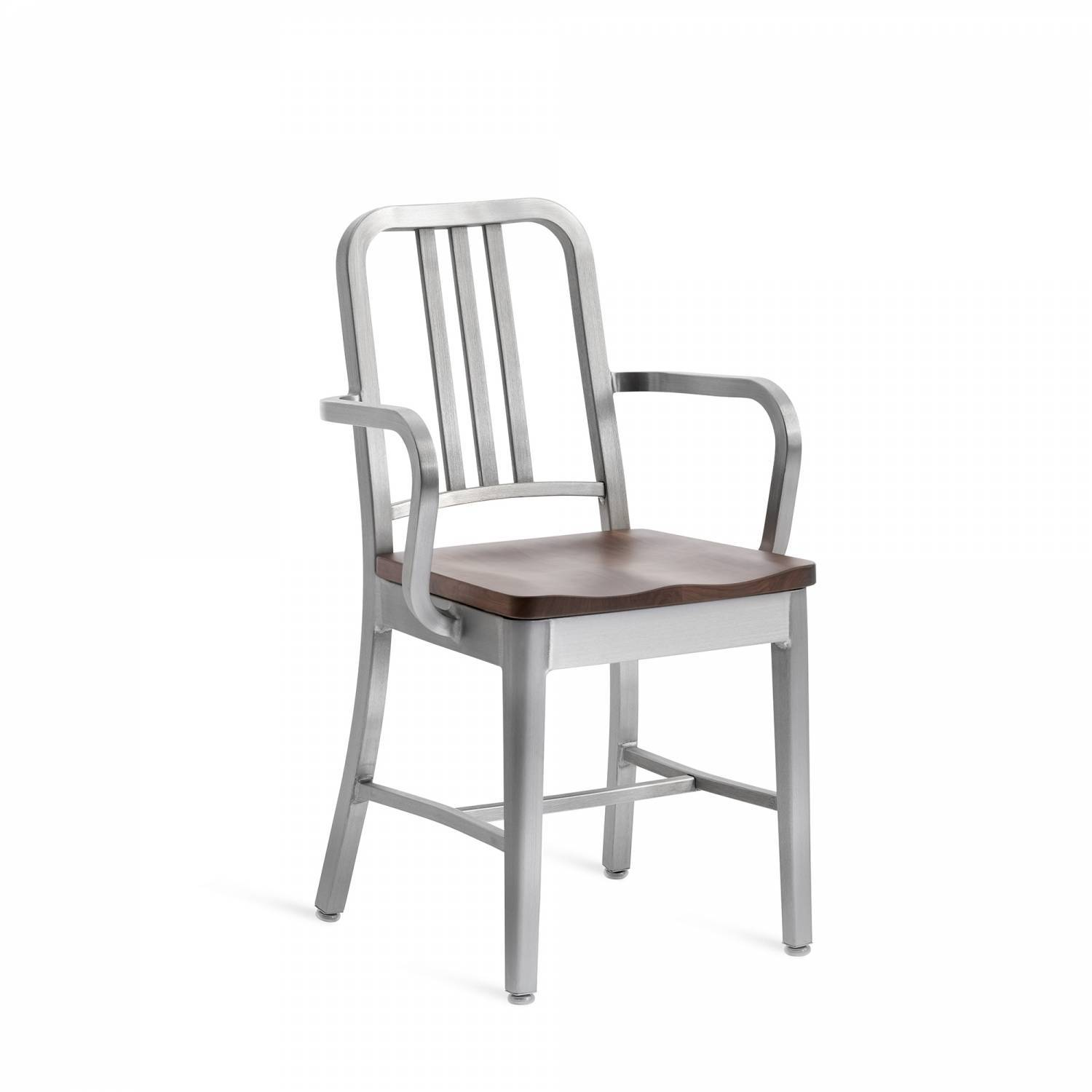 Emeco Navy Arm Chair With Wood Seat