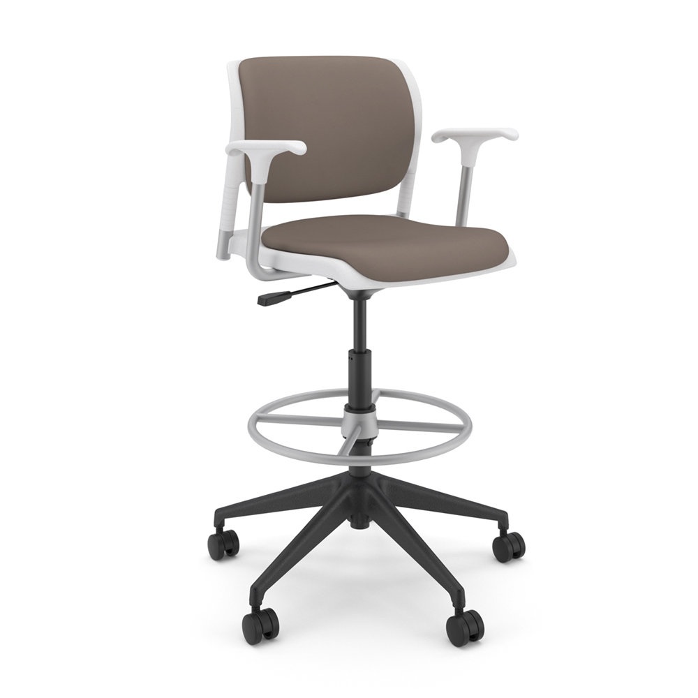 Sit On It Inflex Stool With Arms Upholstered Seat And Back